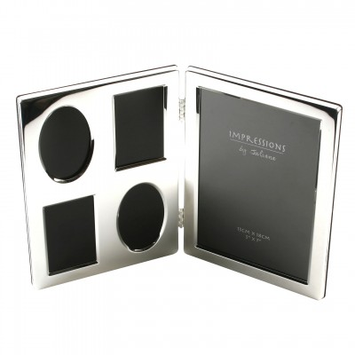"""5"""" x 7"""" SILVER PLATED DOUBLE COLLAGE PHOTO FRAME BOXED"""