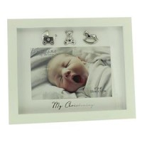 "CHRISTENING PHOTO FRAME 6"" x 4"" CREAM GIFT BOXED"