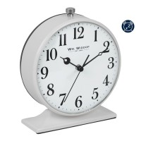 ALARM CLOCK ROUND GREY METAL CASED  NEW BOXED