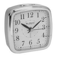 ALARM CLOCK SILVER AND CHROME COLOURED CASE SILENT MOVEMENT NEW BOXED