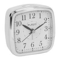 ALARM CLOCK WHITE AND CHROME COLOURED CASE SILENT MOVEMENT NEW BOXED