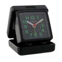 ALARM CLOCK FOLDING TRAVEL BLACK CASE BOXED