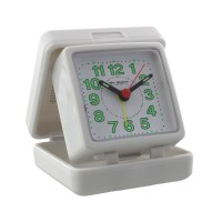 TRAVEL ALARM CLOCK FOLDING WHITE CASE BOXED
