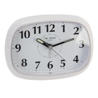 ALARM CLOCK SNOOZE LED BACKLITE OVAL WHITE BOXED