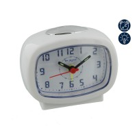 ALARM CLOCK WHITE OBLONG SILENT MOVEMENT LIGHT SNOOZE NEW BOXED