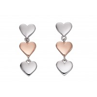 FIORELLI SILVER AND ROSE GOLD PLATED HEART DROP STUD EARRINGS E5799 FREE P&P