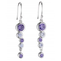 FIORELLI SILVER CUBIC ZIRCONIA WATERFALL AMETHYST DROP EARRINGS E5643M FREE P&P