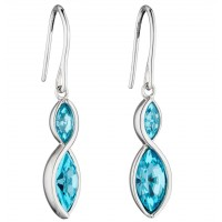FIORELLI SILVER AQUA CRYSTAL TWIST DROP EARRINGS E5801A FREE P&P