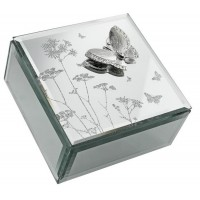 JEWELLERY BOX MIRRORED GLASS WITH 3-D BUTTERFLY DETAIL &  BOXED