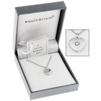 LOCKET TINY HEART SHAPED SILVER TONED STONE SET  BY EQUILIBRIUM BOXED