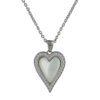 SILVER MOTHER OF PEARL & CUBIC ZIRCONIA HEART NECKLACE