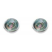 DEW EARRINGS STERLING SILVER PAUA SHELL STUDS DEW BRANDED BOX