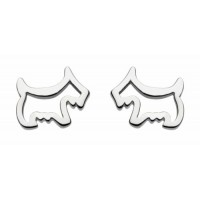 DEW SCOTTY DOG STUD EARRINGS STERLING SILVER FREE BRANDED  GIFT POUCH