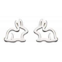 DEW BUNNY RABBIT STERLING SILVER STUD EARRINGS