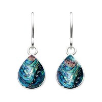DEW STERLING SILVER PAUA SHELL PEAR DROP EARRINGS 5061PA