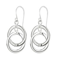 DEW STERLING SILVER DOUBLE INTERLINKED CIRCLES DROP EARRINGS 61003HP