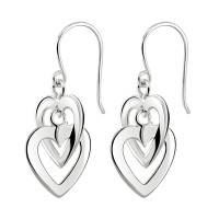 DEW STERLING SILVER DOUBLE INTERLINKED HEARTS DROP EARRINGS 61004HP