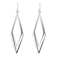 DEW STERLING SILVER DIAMOND SHAPED STATEMENT DROP EARRINGS 61006HP