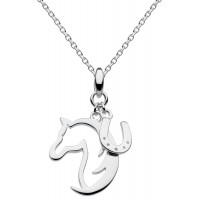 DEW STERLING SILVER HORSES HEAD & HORSESHOE PENDANT FREE BRANDED BOX