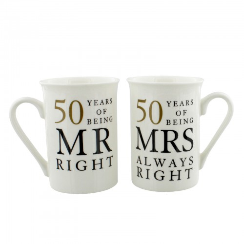 SET 50TH ANNIVERSARY MR RIGHT & MRS ALWAYS RIGHT BOXED