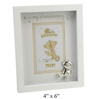 "CHRISTENING PHOTO FRAME 4""X6"" BUTTON CORNER GIFT BOXED"