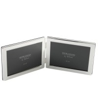 "DOUBLE 4"" X 6"" SILVER PLATE PHOTO FRAME BOXED"