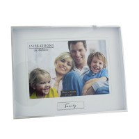 "PHOTO FRAME FAMILY 7"" X 5"" MODERN BOX STYLE SILVER PLATE BOXED"
