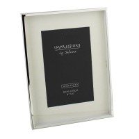 "4"" x 6"" PHOTO FRAME MODERN BOX STYLE SILVER PLATED BOXED"