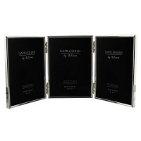 "TRIPLE 5"" x 7"" PHOTO FRAME SILVER PLATED BOXED"