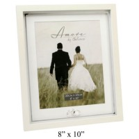 "WEDDING PHOTO FRAME 8"" X 10"" WITH CRYSTAL RINGS BOXED"