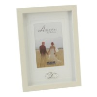 "WEDDING PHOTO FRAME 4"" X 6"" CRYSTAL RINGS CREAM PHOTO FRAME BOXED"