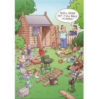 EXCESS SHED OVERLOAD FUNNY HUMOUROUS BIRTHDAY CARD THE FUNNY SIDE OF LIFE!