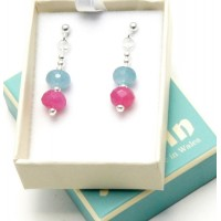 EARRINGS JADE BEADS PASTEL SHADES MADE IN WALES BY RONIN BOXED