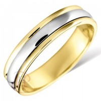9CT YELLOW GOLD AND WHITE GOLD WEDDING RING MADE IN THE UK IN LUXURY PRESENTATION BOX RRP £485
