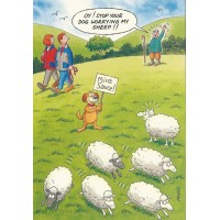 DOG WORRYING SHEEP FUNNY HUMOROUS BIRTHDAY CARD RAINBOW CARDS BY LING